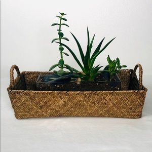 Handwoven Seagrass Rectangular Basket with handles